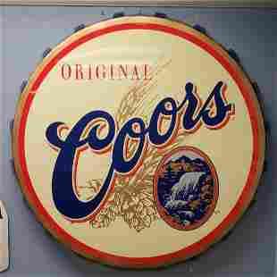 NOS Coors Bottle Cap Sign