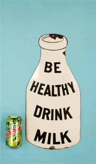 Porcelain Milk Bottle Sign Be Healthy Drink Milk