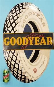 Scarce Porcelain Goodyear Tire Die Cut Sign
