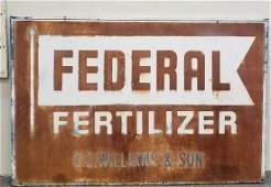Large Scarce Federal Fertilizer Tin Farm Sign