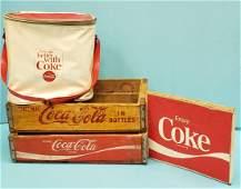 Coca Cola Lot 2 crates, Sign, and vinyl bag