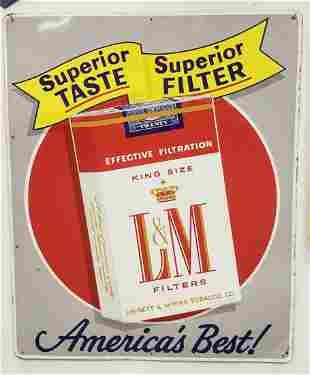 L & M Cigarettes tobacco tin sign
