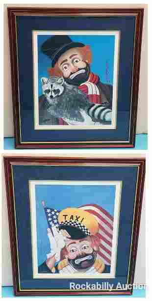 2 Red Skelton Signed Lithographs Raccoon and Taxi