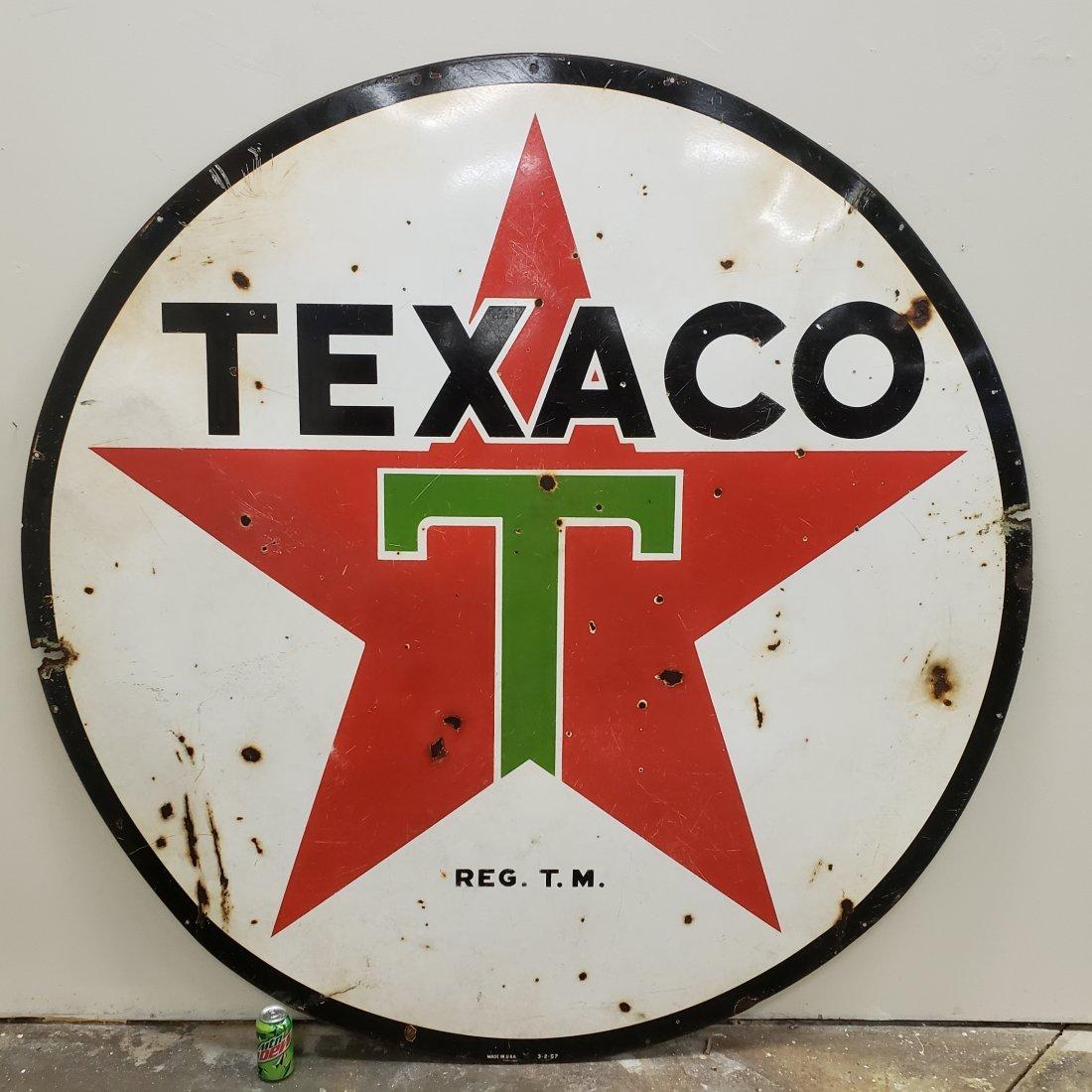 "72"" Texaco 2 sided porcelain dealership sign"