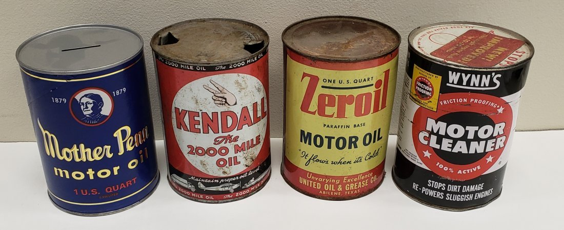 Lot of 4 Motor Oil Cans