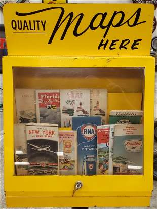 Petroliana Road Maps Display Cabinet with Road Maps