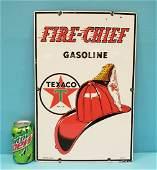 Texaco Firechief Porcelain Gas Pump Plate