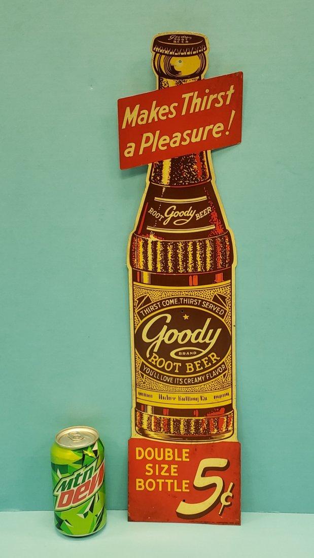 Goody Root Beer Die Cut Tin Bottle Sign