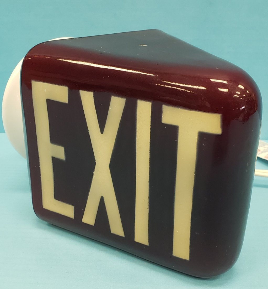 Vintage Red Glass Movie Theater EXIT Sign