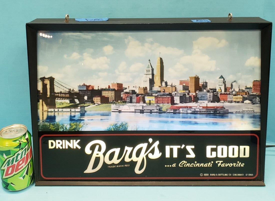 1958 Drink Barq's Cincinnati Skiline Light up sign.