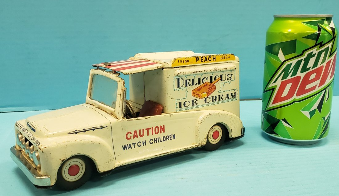 Delicious Ice Cream Tin Toy Truck Made In Japan