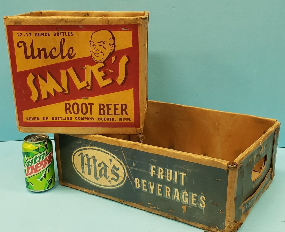 Ma's & Uncle Smilie's Root Beer Cardboard Crates / Box