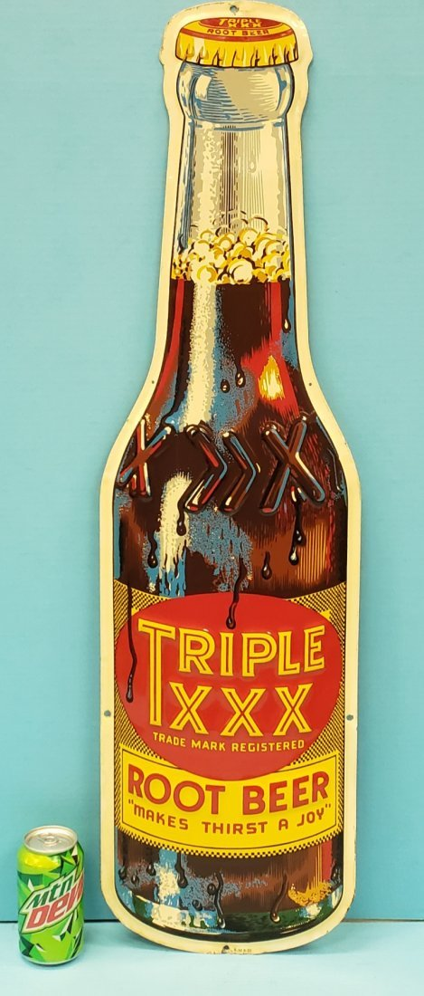 Triple XXX Root Beer Die Cut Embossed Bottle Sign