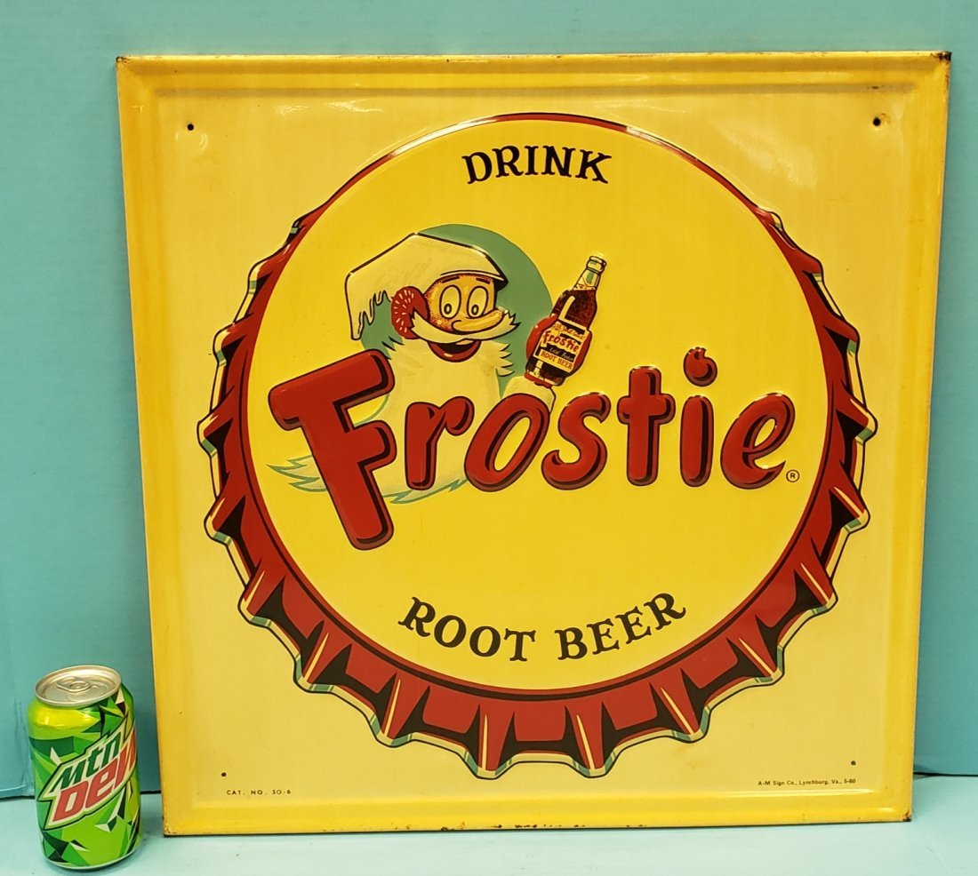 Drink Frostie Root Beer Embossed Bottle Cap Sign