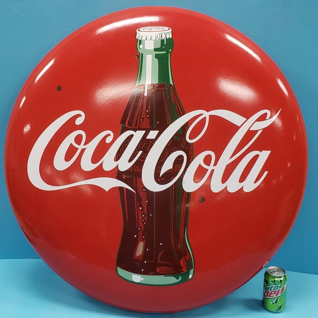 """36"""" Porcelain  Coca Cola button sign"""