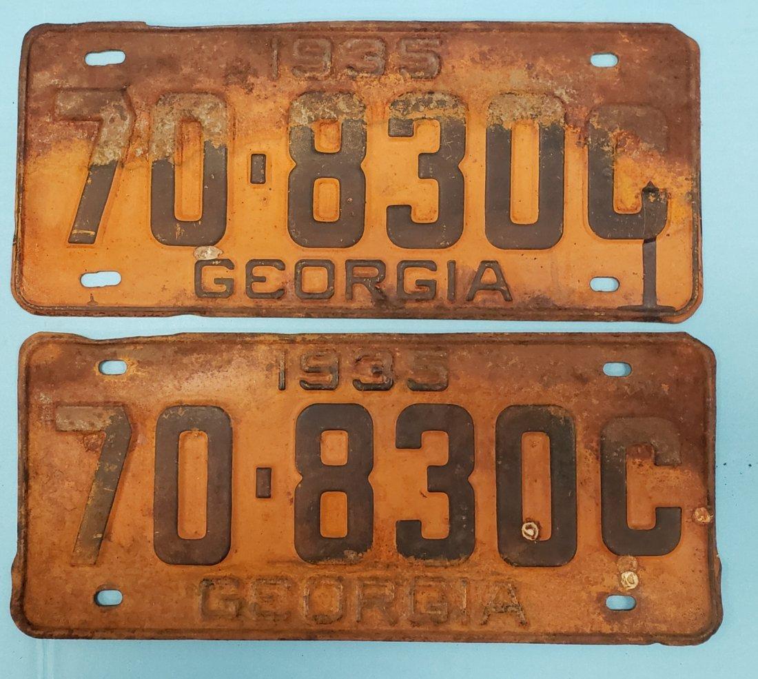 Pair of 1935 Georgia Tags /License Plates