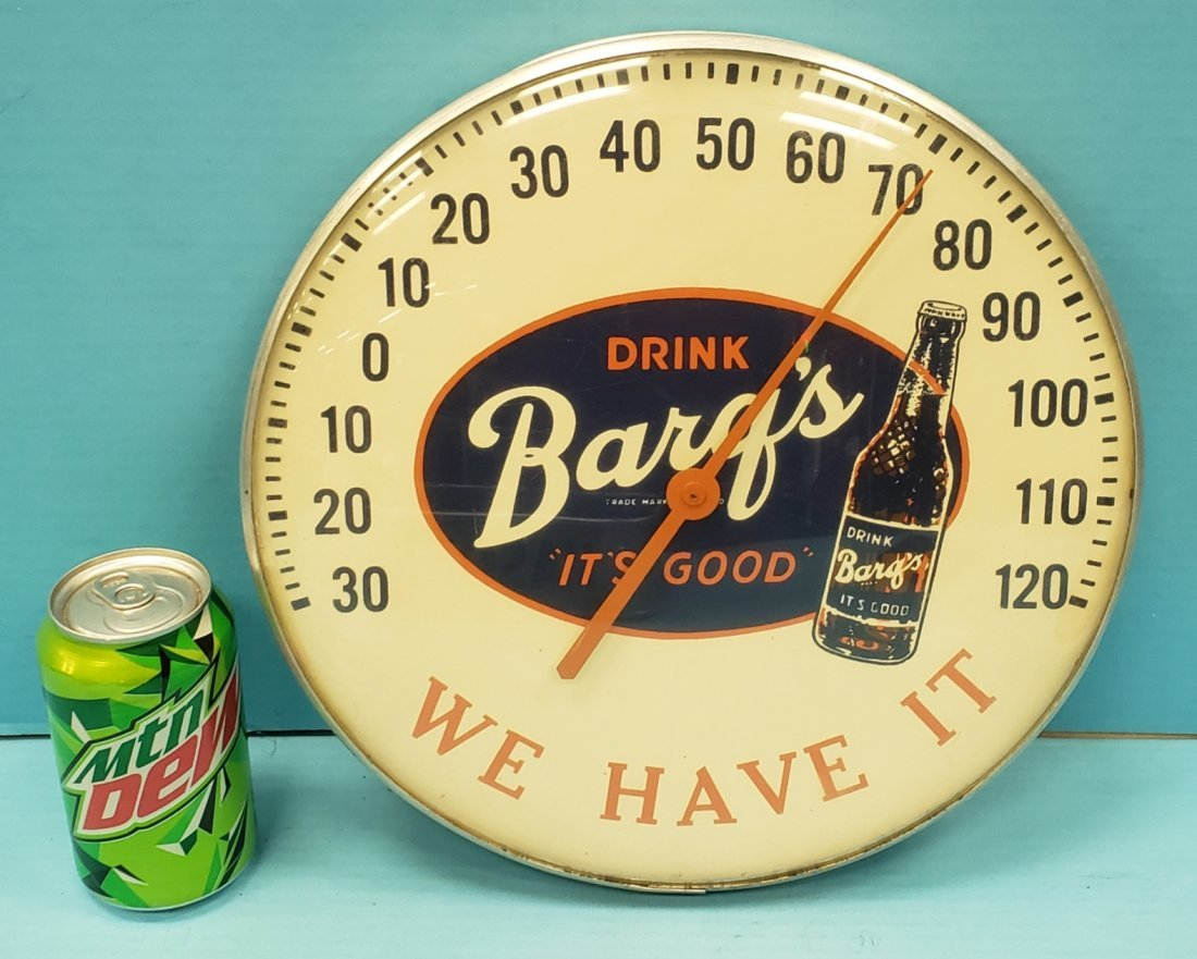 Barq's Root Beer Round Advertising Thermometer