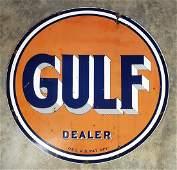 Double Sided Gulf Porcelain Dealer Sign