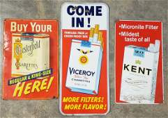 3 Tin Cigarette Signs Chesterfield, Viceroy, & Kent