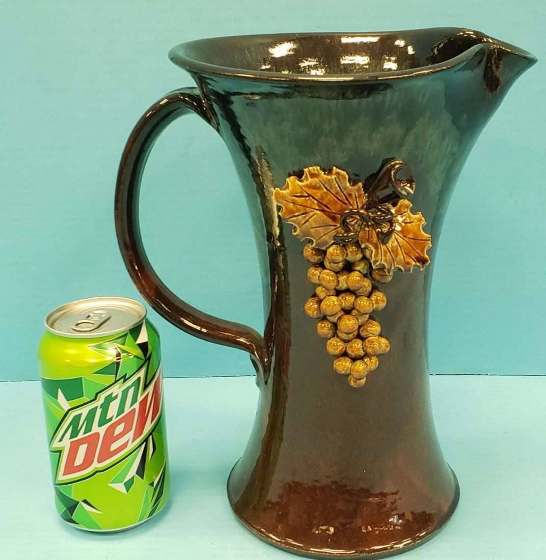 Roger & Linda Corn Grape Pitcher Southern Pottery