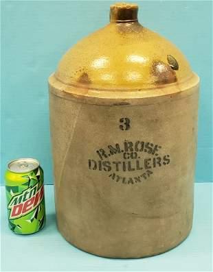 3 Gallon R. M. Rose Co. Distillers Atlanta Jug