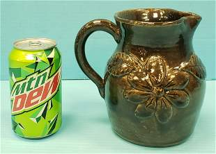 Arie Meaders Applied Flower & Leaf Decorated Pitcher