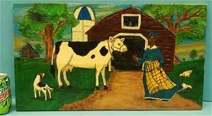 Richard Roebuck Black Rural Scene Folk Art Painting