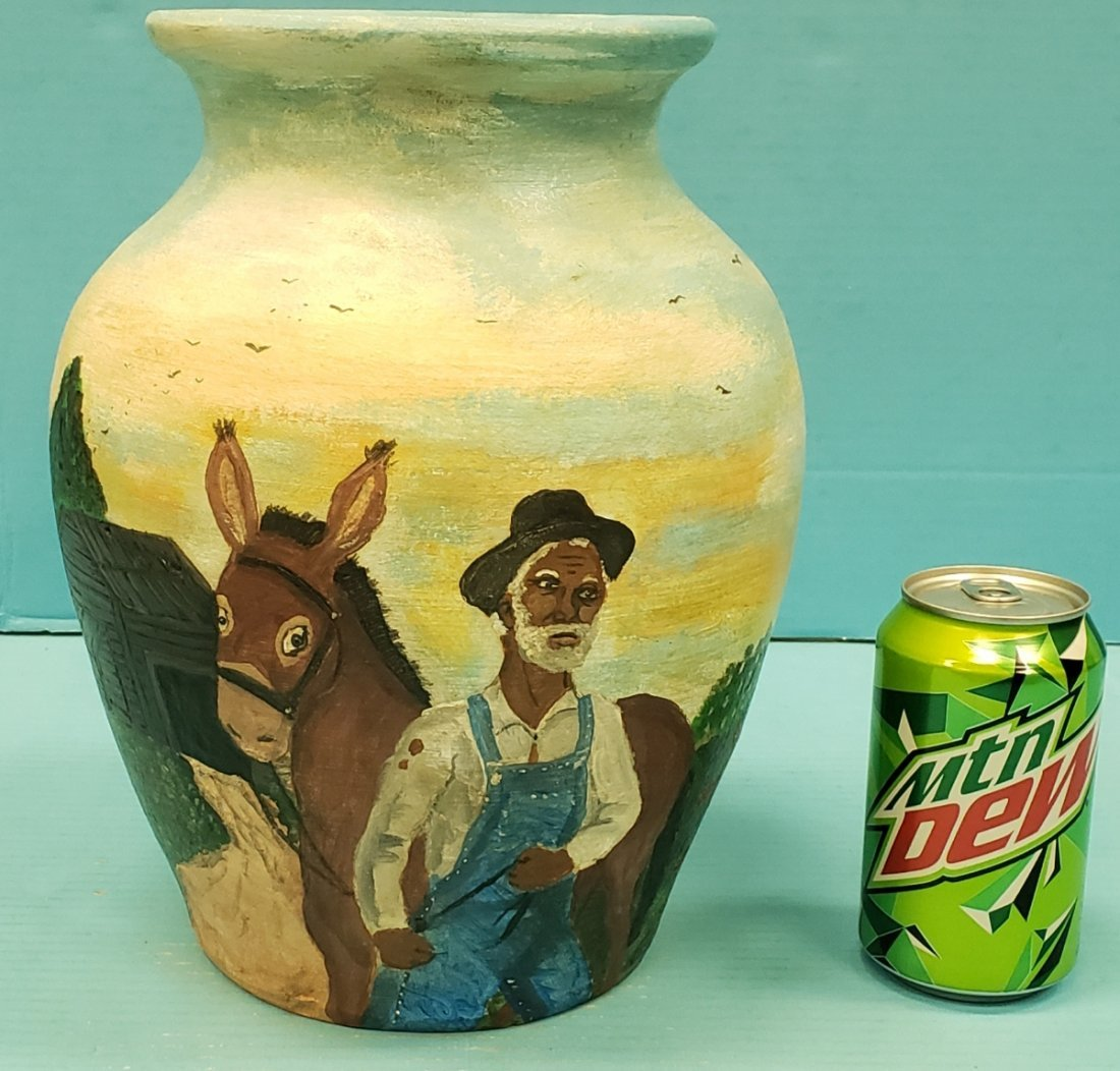 Richard Roebuck Black Rural Scene Folk  Painting Vase
