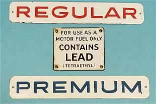 3 Porcelain Gas Pump Plate Signs