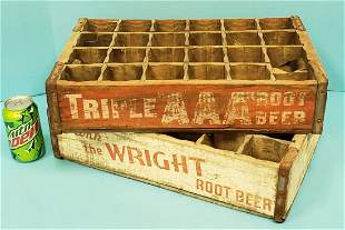 Scarce Root Beer Wood Crates Triple AAA & Wright