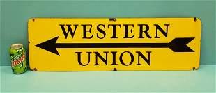 Porcelain Western Union Arrow Sign
