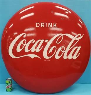 """36"""" Metal Drink Coca Cola Button Sign"""