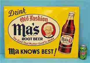Drink Ma's Old Fashioned Root Beer Tin Sign