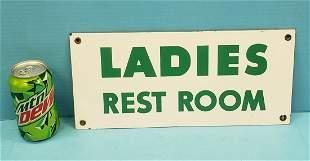 Porcelain Ladies Rest Room Sign