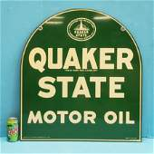NOS 1951 Double Sided Quaker State Motor Oil Sign