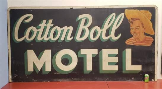 1954 Cotton Boll Motel Metal Sign