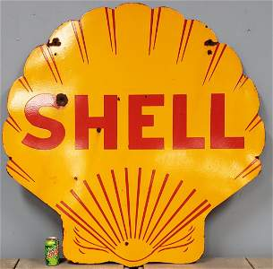 Shell Double sided porcelain sign