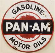 Porcelain Pan Am Gasoline Motor Oils Sign