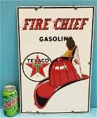 Texaco Fire chief Porcelain Gas Pump Plate