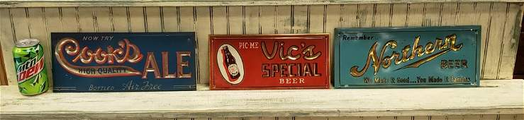 Lot of 3 Beer Signs Tin Over Cardboard