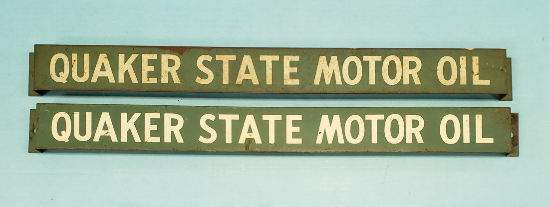 2 Quaker State Motor Oil Display Rack Signs