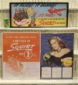 3  1940s 50s Drink Squirt Advertising  Calendar Lot