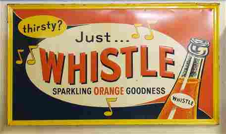 Large, Thirsty? Just Whistle Tin Embossed Sign