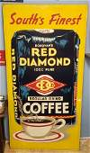 Large 8ft Red Diamond Coffee Tin Sign