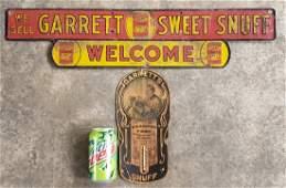 Garrett Sweet Snuff Door Push Sign & Thermometer