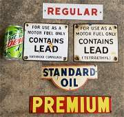 Standard Oil Tin Sign and 4 Porcelain Gas Pump Plates