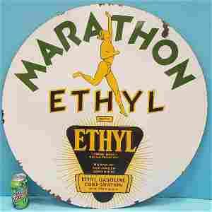 RARE Marathon Ethyl Double Sided Porcelain Sign