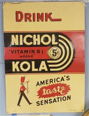 Drink Nichol Kola Tin Embossed Sign