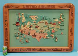 United Airlines Self Framed 3D United States Map