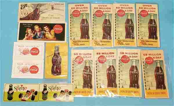 Mixed lot of Coca Cola blotters, NuGrape, & Sprite